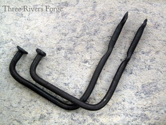 Wrought Iron Hooks 2 Pack Hand Forged Wall Black Rustic Farmhouse Cottage Large
