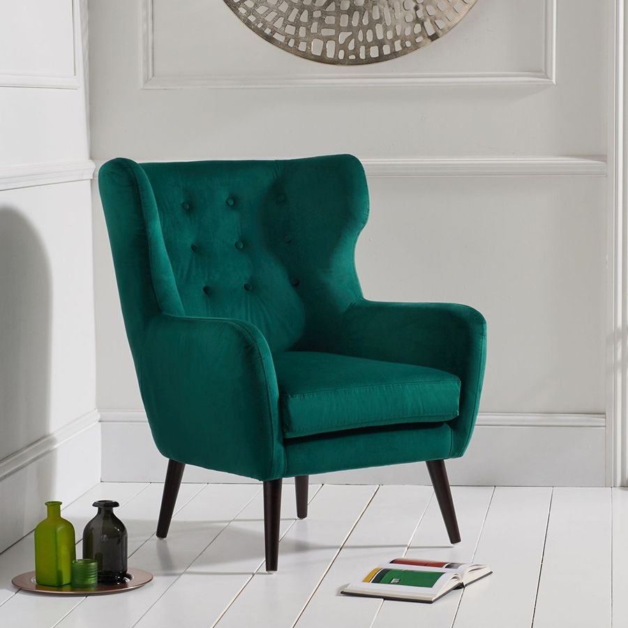 This Delightful Adrianna Green Velvet Buttoned Wing Back Armchair Would Make A Stylish Stat Blue Velvet Accent Chair Blue Velvet Chairs Black Upholstered Chair