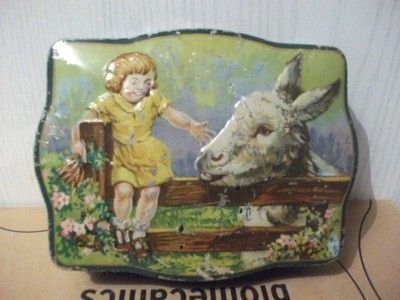 """VINTAGE HORNER """" DAINTY DINAH """" TOFFEE TIN Donkey & Girl 5x4x1.5 inches (09/26/2011)"""