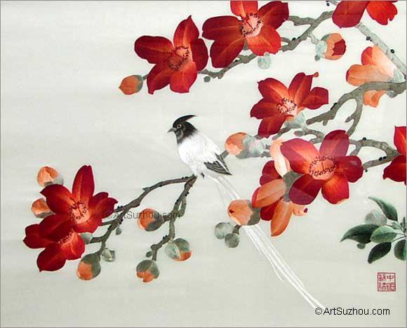 BirdampflowersHand EmbroideryWallhanging  Buy Chinese