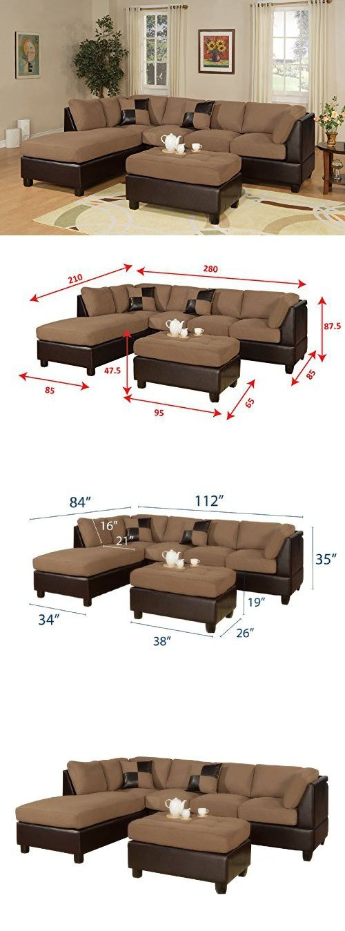 Bobkona Hungtinton Microfiber/Faux Leather 3 Piece Sectional Sofa Set,  Saddle