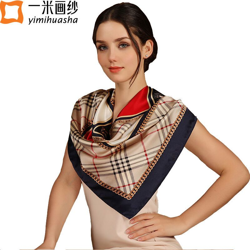 d126ce4e9f6 100% silk, large square scarves for women colorful printed foulard satin