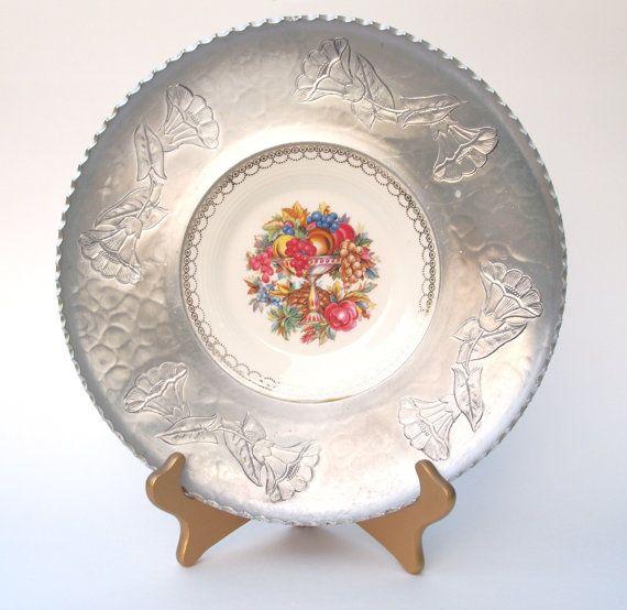 Farberware Hammered Aluminum Platter with an American Limoges Plate Insert - Circa 1950s & Farberware Hammered Aluminum Platter with an American Limoges Plate ...