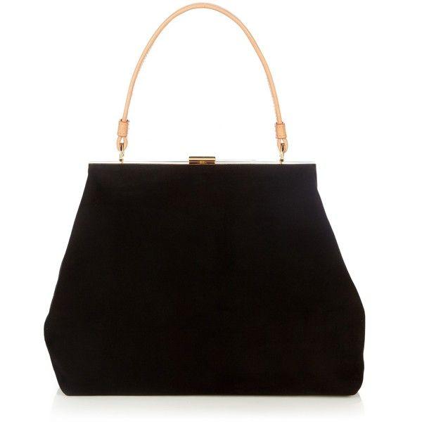 Mansur Gavriel Elegant suede bag (21 125 UAH) ❤ liked on Polyvore featuring bags, handbags, black, suede purse, mansur gavriel handbags, mansur gavriel, suede leather bag and suede handbags