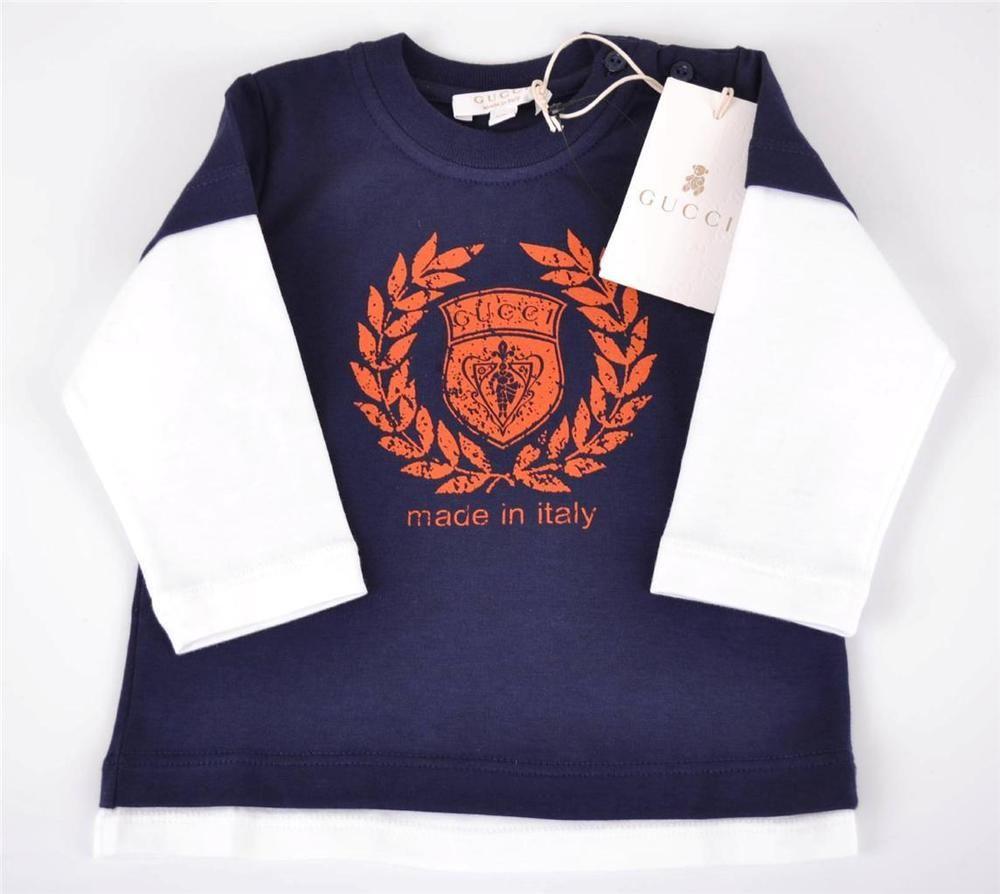 NEW GUCCI 265387 BOY'S DARK BLUE & RED COTTON HYSTERIA LOGO T SHIRT~6 9 MOS #Gucci #Everyday