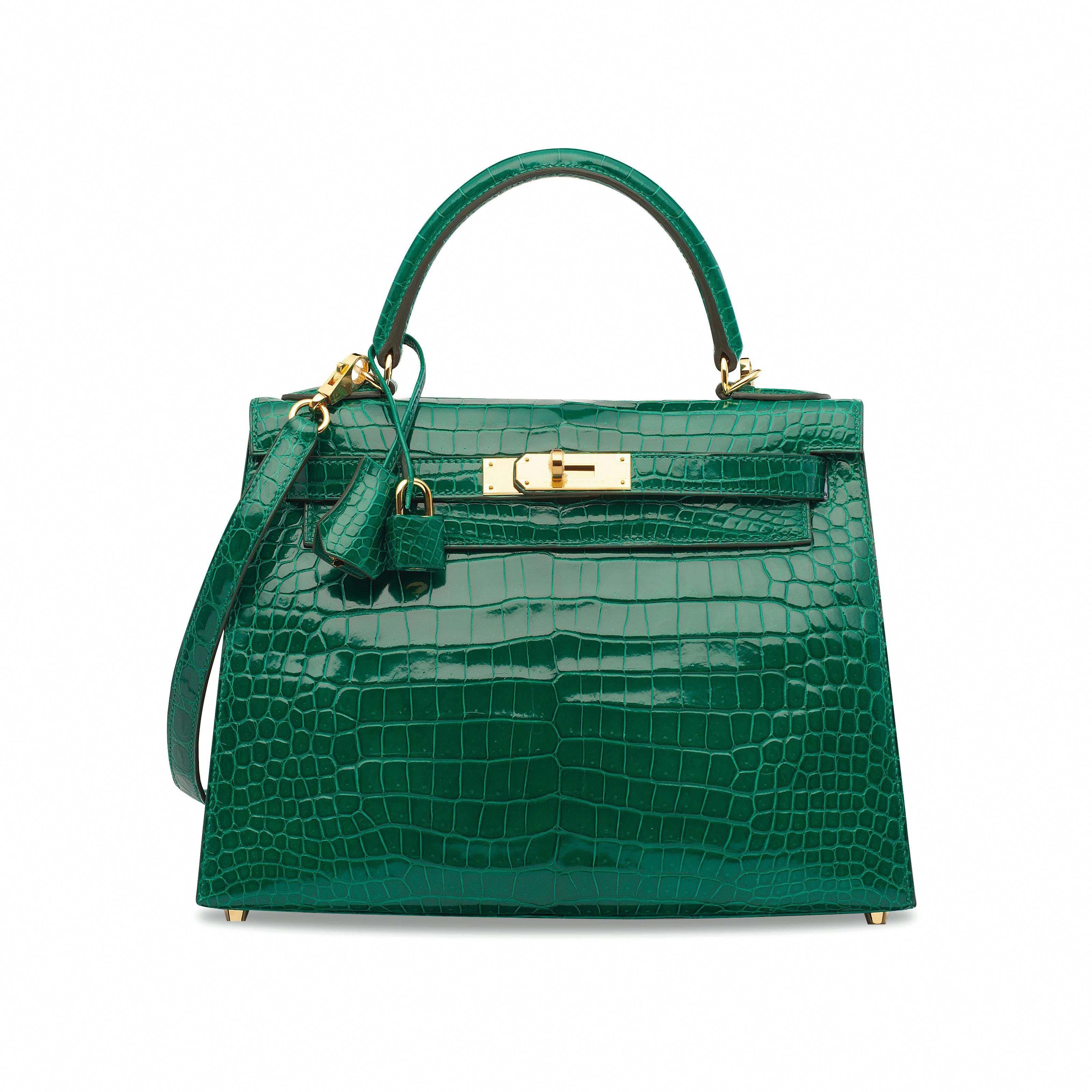 6c16af4b2093 A SHINY VERT ÉMERAUDE POROSUS CROCODILE SELLIER KELLY 28 WITH GOLD HARDWARE