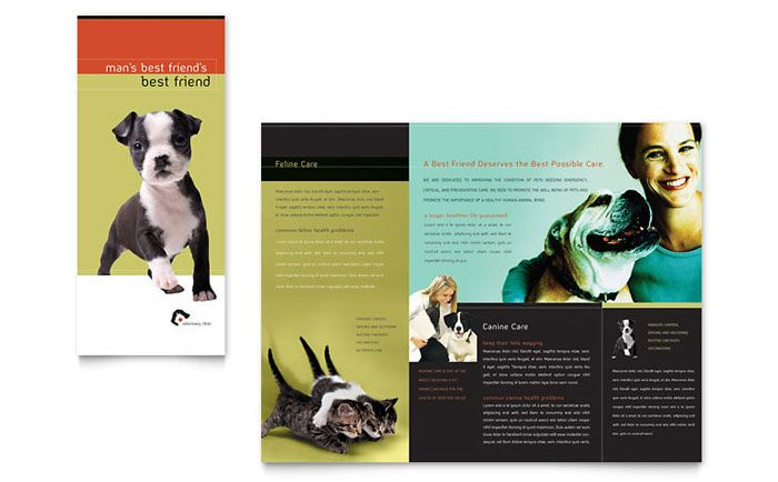 Veterinary Clinic Brochure Design Template By Stocklayouts Brochure Design Template Graphic Design Brochure Graphic Design Templates