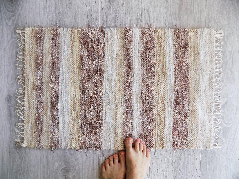 Scandinavian Bath Rug With Tassels Handwoven Rug With Etsy In 2020 Rugs Soft Carpet Handwoven Rugs