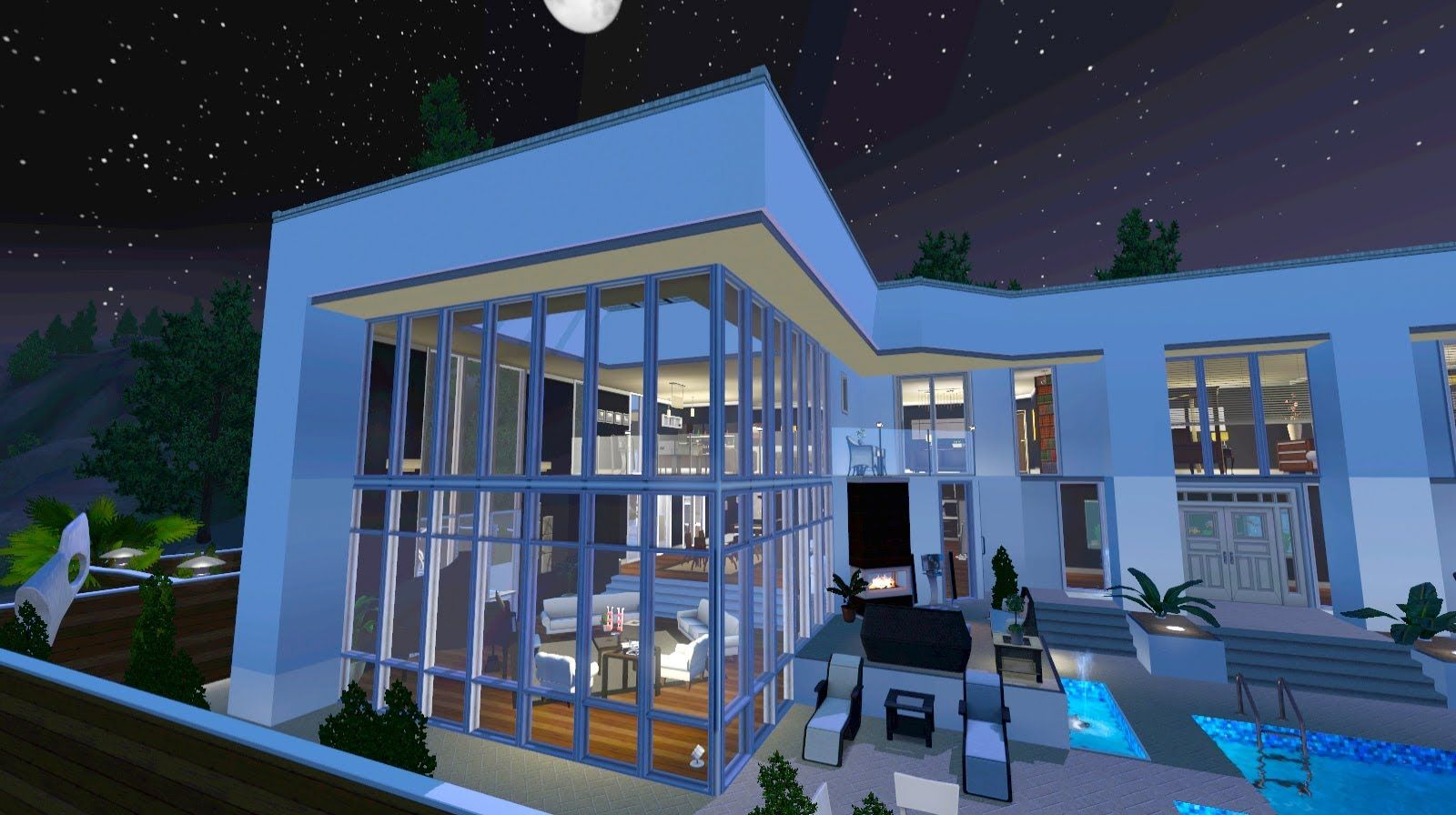 Sims 3 Luxury Hill Side Mansion Walkthrough Download Sims House Design Mansions Sims House
