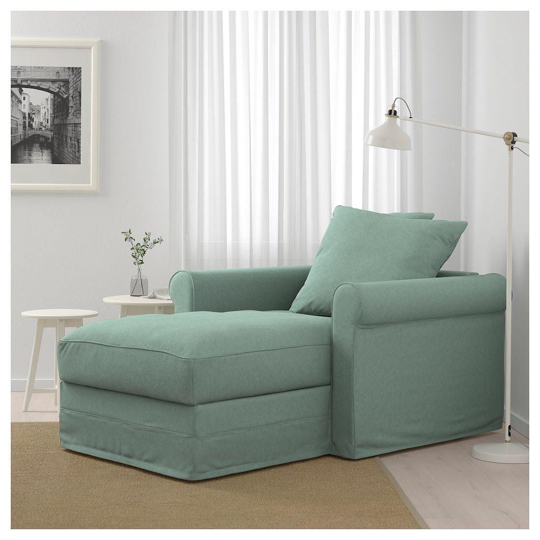 GRÖNLID Tallmyra light green, Chaise longue IKEA Deep