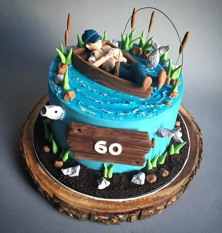 Wondrous Fishing Cake Ideas For Birthday Adult Custom Cakes 2 Orig With Personalised Birthday Cards Epsylily Jamesorg