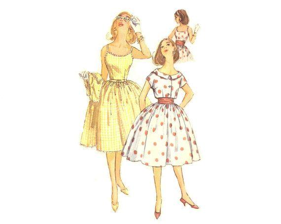 60s Vintage One Piece Dress Short Jacket and Cummerbund Simplicity 3471 Sewing Pattern Size 16 Bust 36 UNCUT