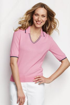 preppy but pricey (50 bucks) Women's Elbow Sleeve Fine Gauge Supima V-neck Polo from Lands' End