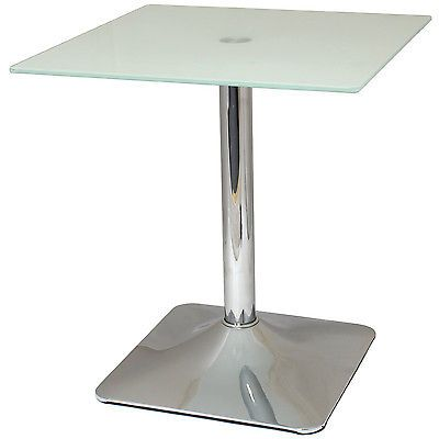 #Square top #side/end/coffee #table white glass/chrome lounge/bedroom/living room,  View more on the LINK: 	http://www.zeppy.io/product/gb/2/261929709869/