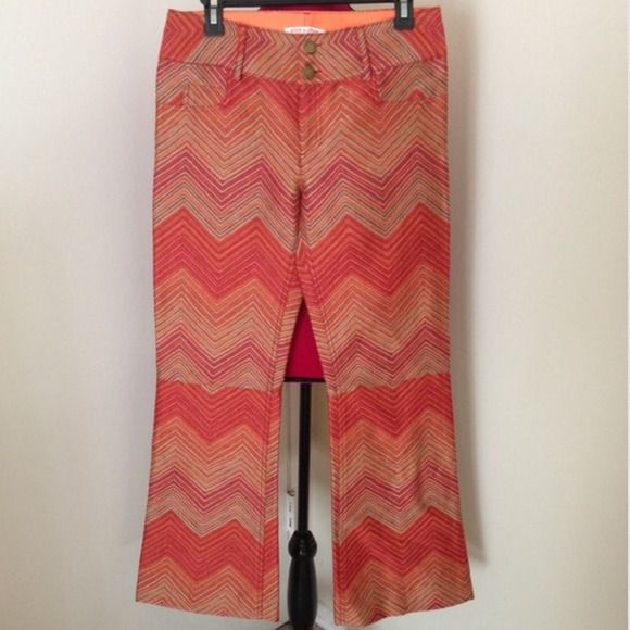 "FINAL HP {Alice + Olivia Chevron Pants} Gorgeous chevron brocade trousers from Alice & Olivia, Size 6. Worn once. They are like new. Exterior is perfect, the inside if the waistband has a small snag & a tiny scratch. Waist 31"", rise 9.5"", inseam is 30"" Alice + Olivia Pants"
