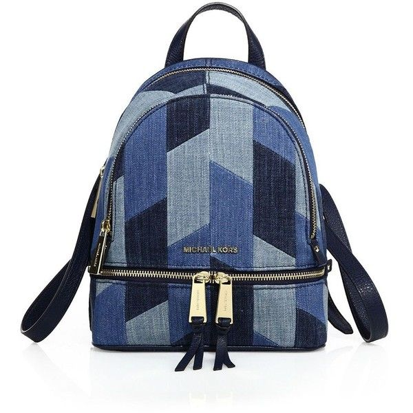 1ab30e19e374 MICHAEL MICHAEL KORS Rhea Mosaic Patchwork Denim Backpack ($205) ❤ liked on  Polyvore featuring bags, backpacks, backpack, accessories, ...
