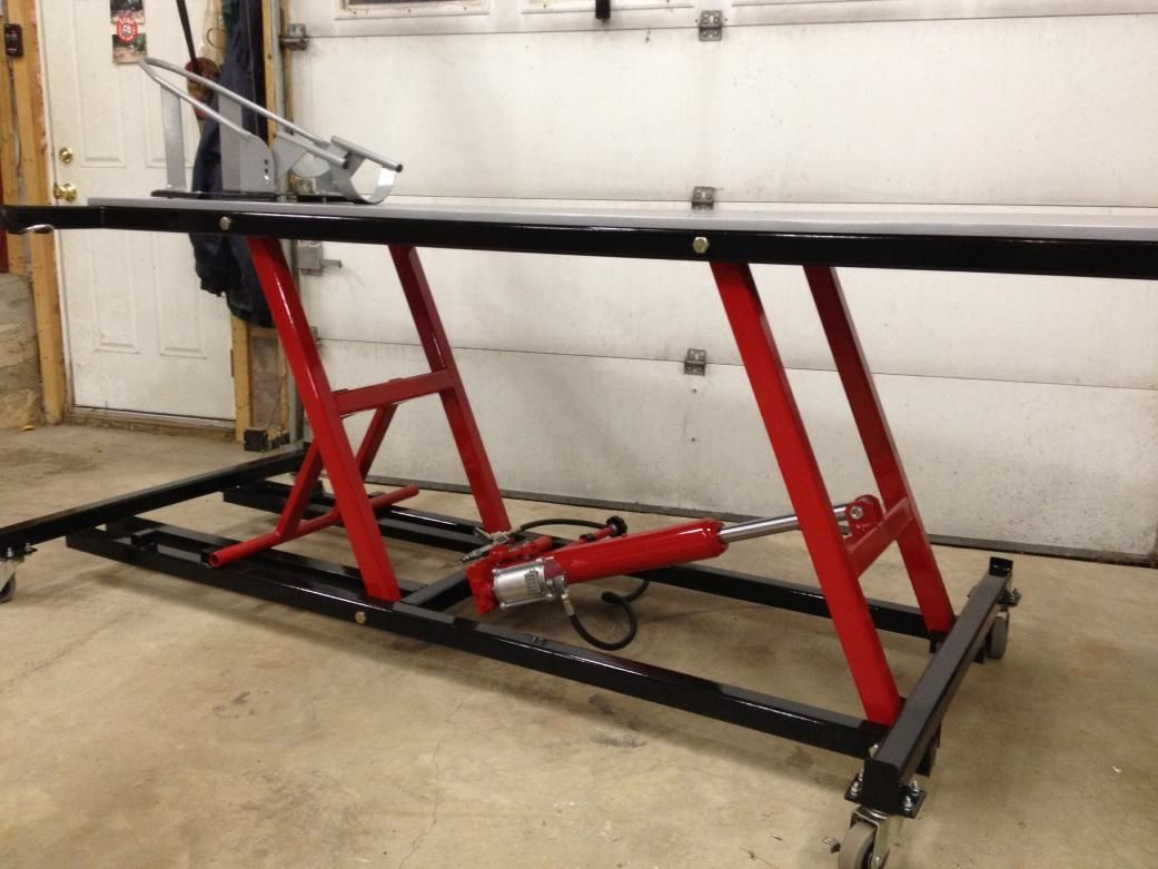 Motorcycle Lift Table By Fishman Homemade Motorcycle Lift Table Fabricated From Steel And Powered By A Pneumatic Lift Table Motorcycle Lift Table Bike Lift