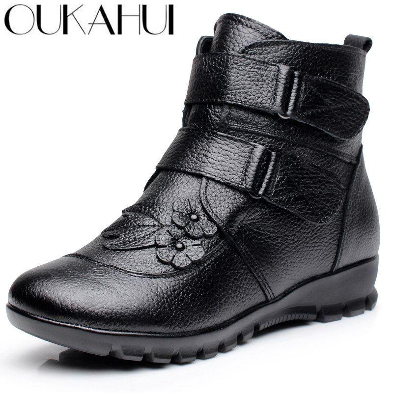 3c72f80e5e31 Retro genuine leather women s winter plush fur boots