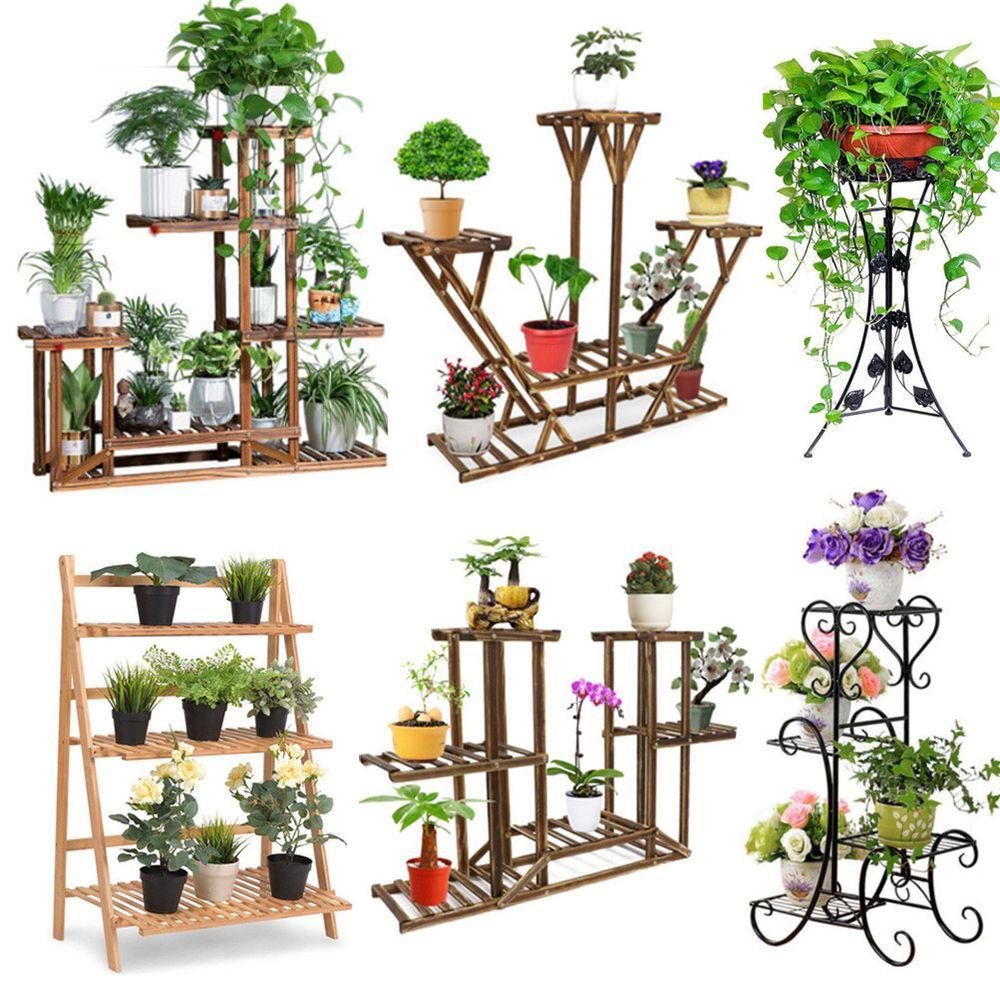Wood Bamboo Metal Shelf Flower Pot Plant Stand Rack Garden Indoor Outdoor Patio House Plants Decor Plant Stand Indoor Plant Decor