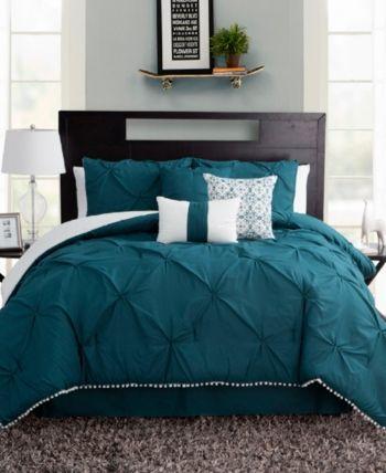 Pom Pom Seven Piece Queen Size Comforter Set Bedding In 2020
