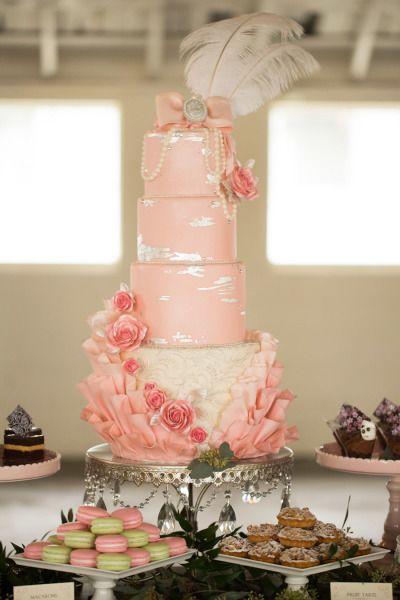 Feathered Marie Antoinette-inspired wedding cake www.MadamPaloozaEmporium.com www.facebook.com/MadamPalooza