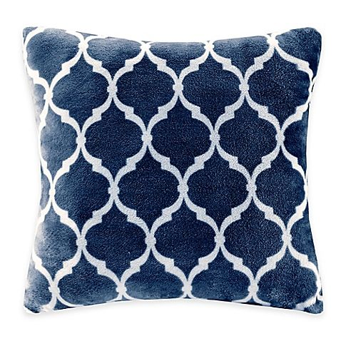 Madison Park Ogee Reversible Square Throw Pillow In Indigo New New Madison Square Decorative Pillow