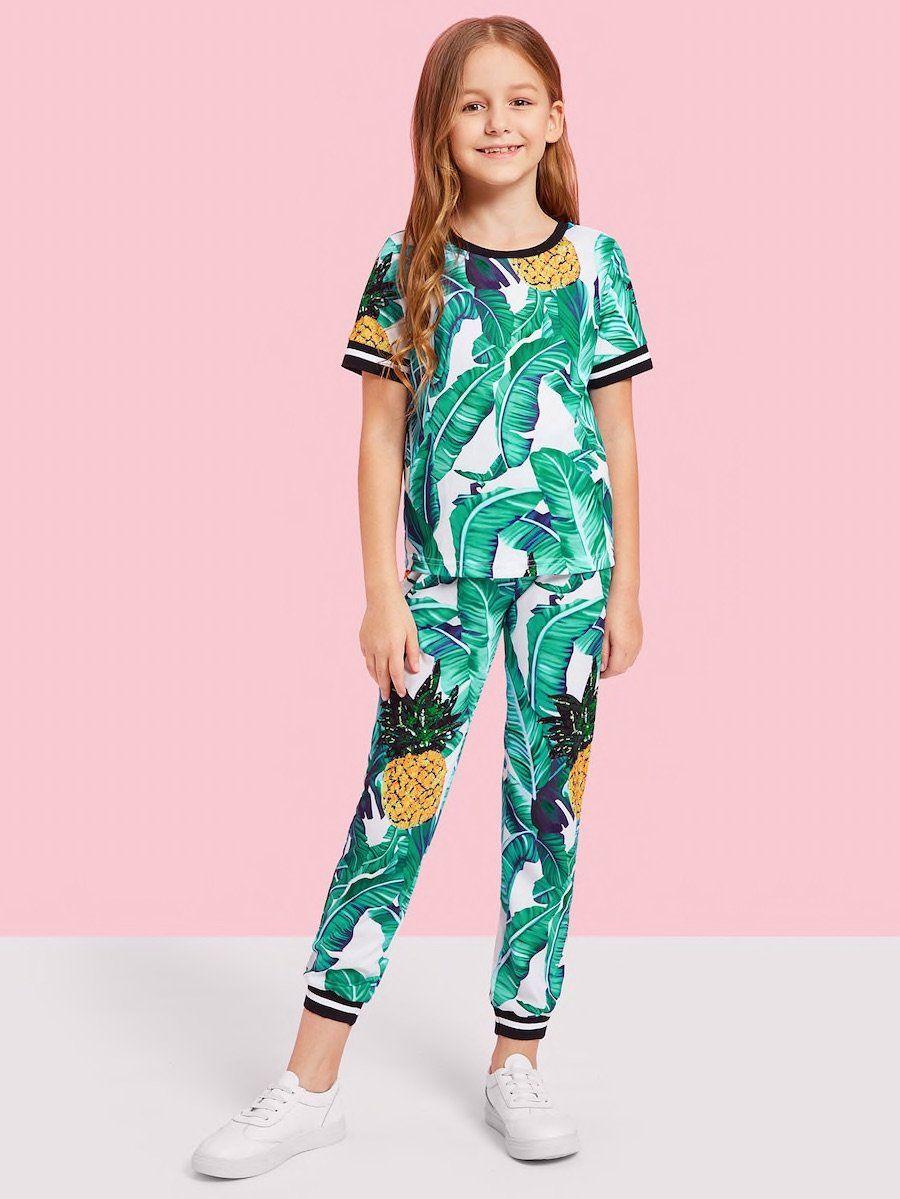 b46a2a569 Girls Jungle Leaf Print Top   Pants Set