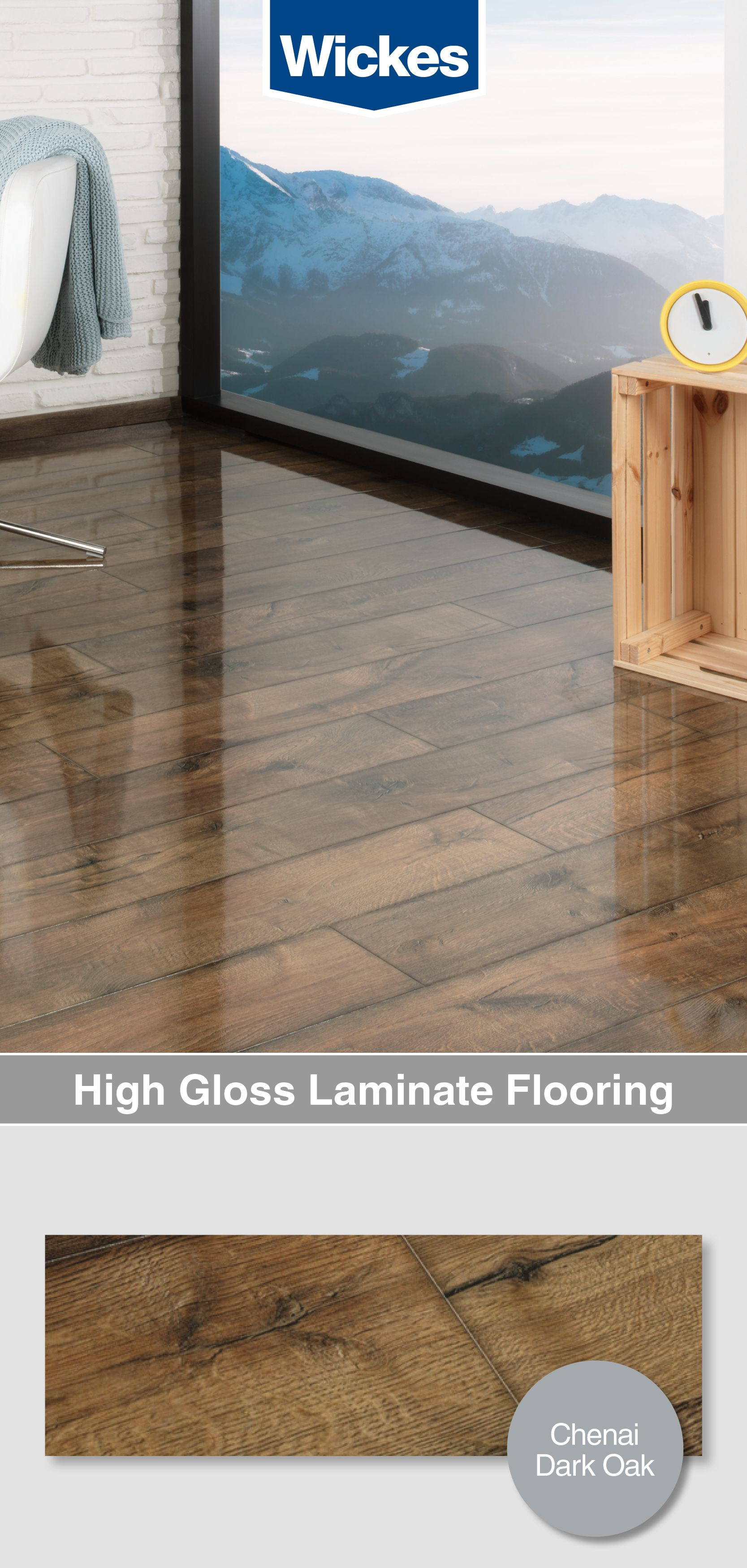 Wickes Chenai Dark Oak High Gloss Laminate Flooring 2