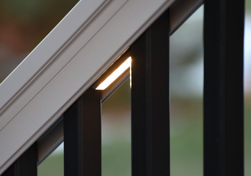 Azek Under Rail Light Add A Warm Glow To Your Azek Deck With Azek S Outdoor Deck And Porch Lighting Select From Our Assortm Deck Lighting Azek Decking Azek