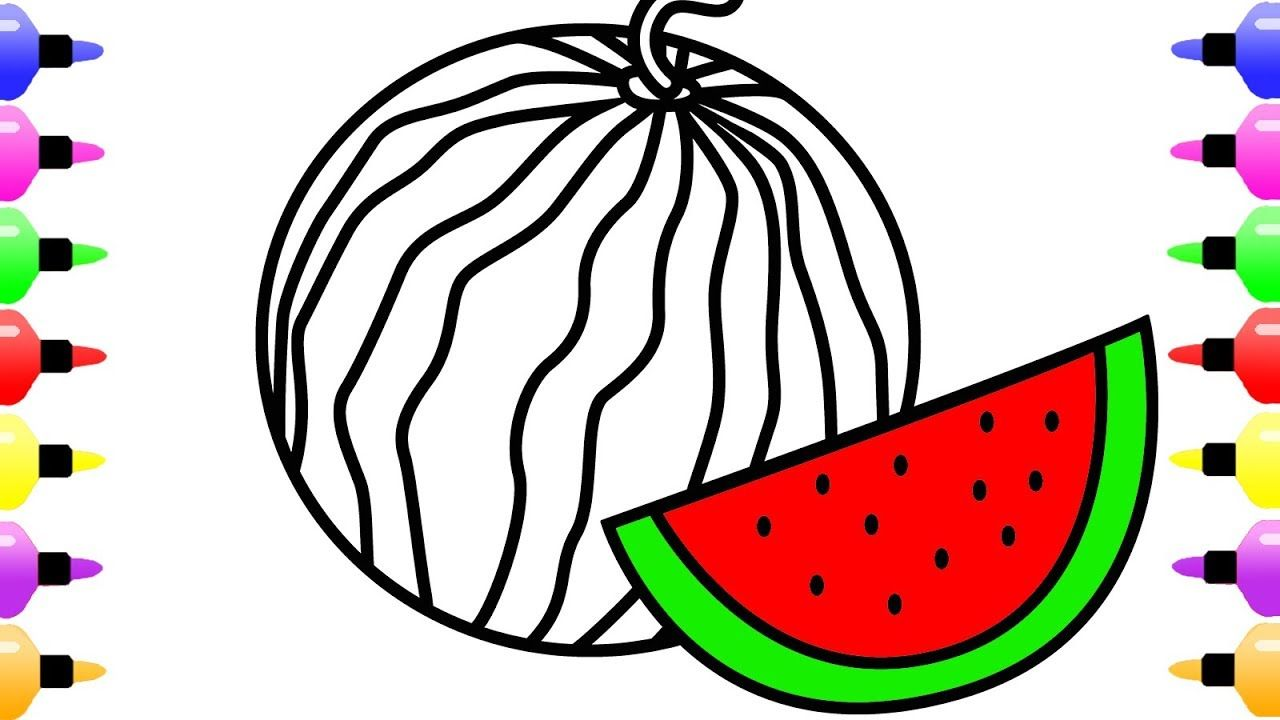 How to Draw Watermelon for Kids & Cute Art Coloring Book for ...