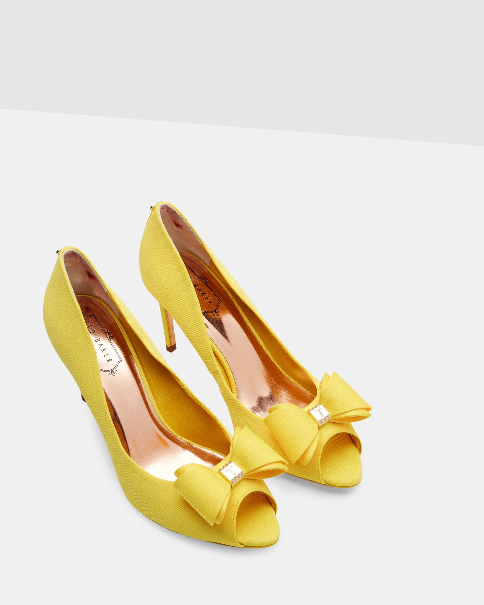 Bow Detail Peep Toe Courts  Yellow - Shoes - Ted