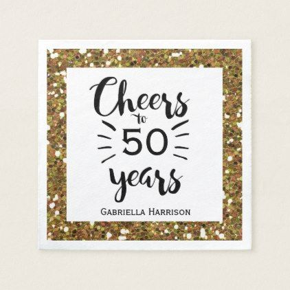Black White and Gold 50th Birthday Napkin | Zazzle.com #moms50thbirthday