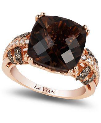 Le Vian Smokey Quartz (6 ct. t.w.), Chocolate (1/5 ct. t.w.) and White (1/8 ct. t.w.) Diamond Ring in 14k Rose Gold.