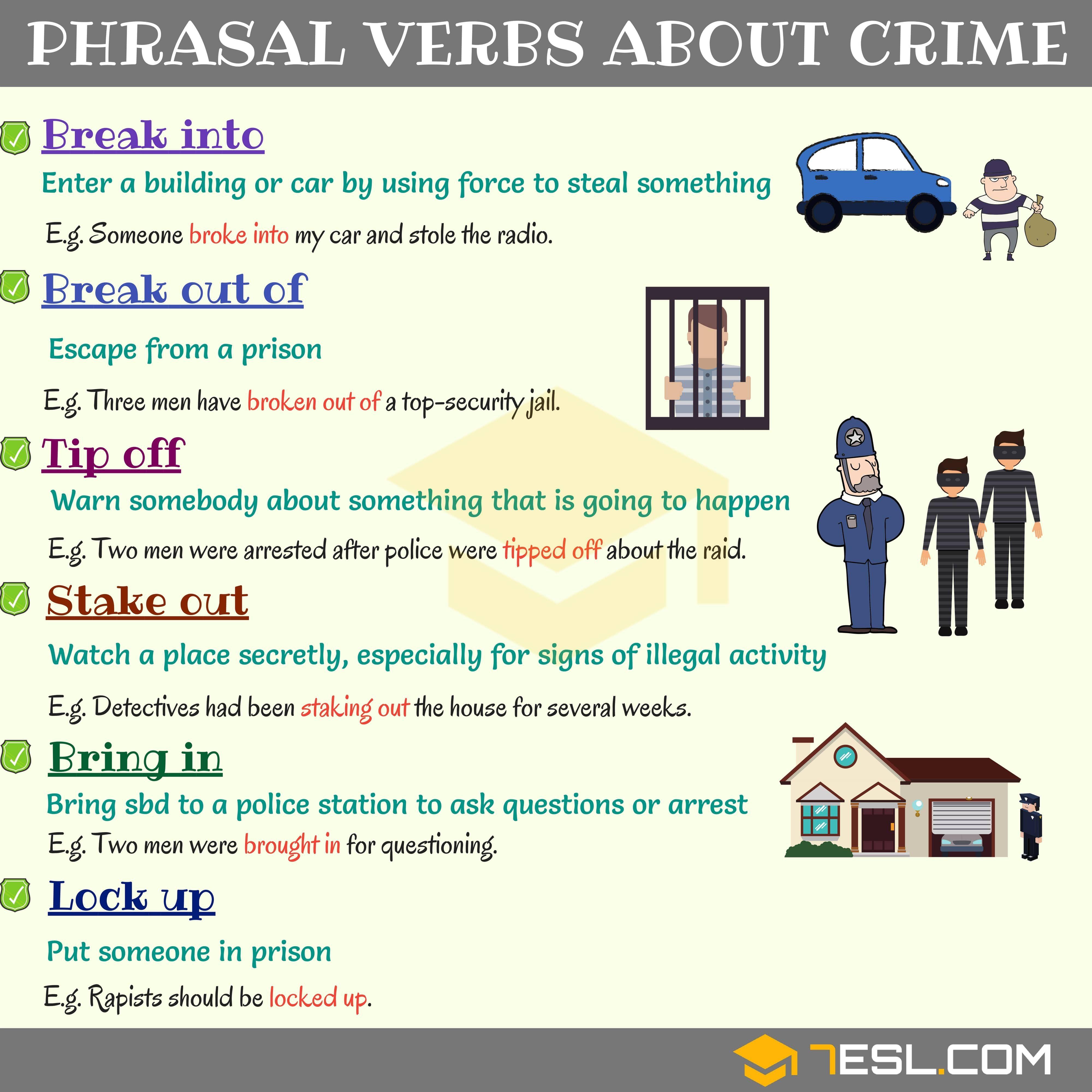 Crime Vocabulary Common Phrasal Verbs About Crime