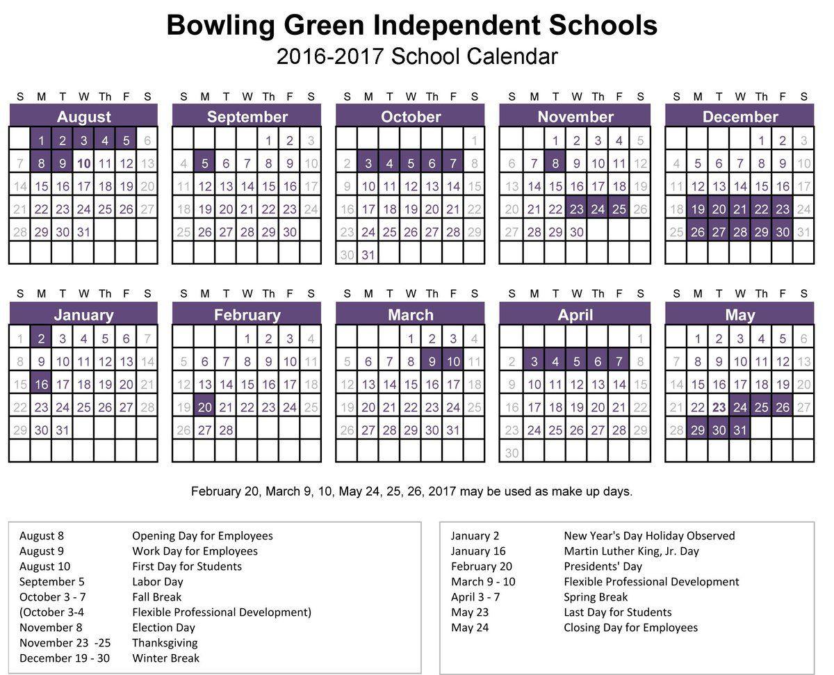 Bowling Green City Schools Calendar School Calendar Calendar Board Independent School
