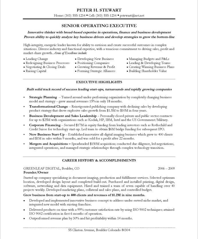 Chief Executive Officer Sample Resume Example Executive or CEO - operating officer sample resume