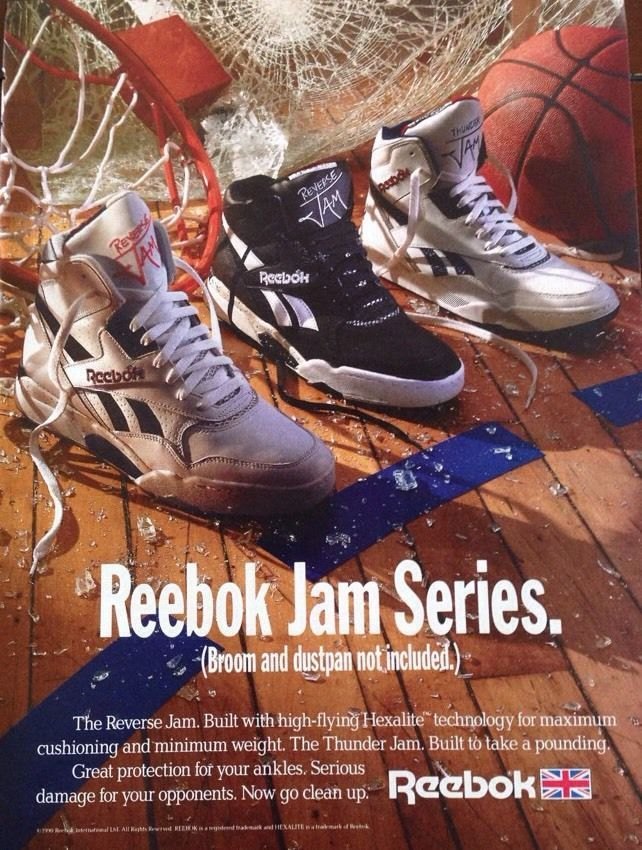 24c10beca31 Awesome vintage 1990 Reebok Jam Series basketball print ad   poster.  Advertisement is entitled