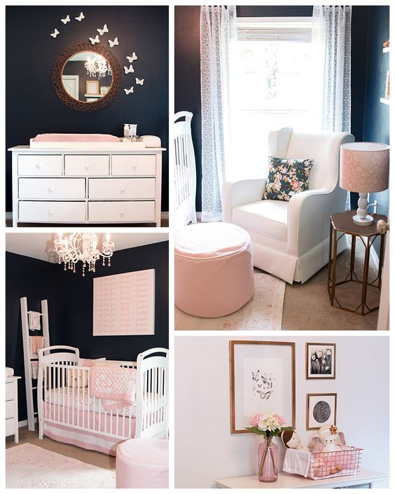 If you're looking for an unexpected twist on the typical girl's nursery, try bringing in darker colors or unexpected accents. Jackie Konczol wanted the traditional blush pinks and white for her baby's room, but also wanted to add some non-traditional touches. By painting the walls in Naval SW 6244 and Snowbound SW 7004 and incorporating delicate copper accents, she was able to design her dream nursery.: