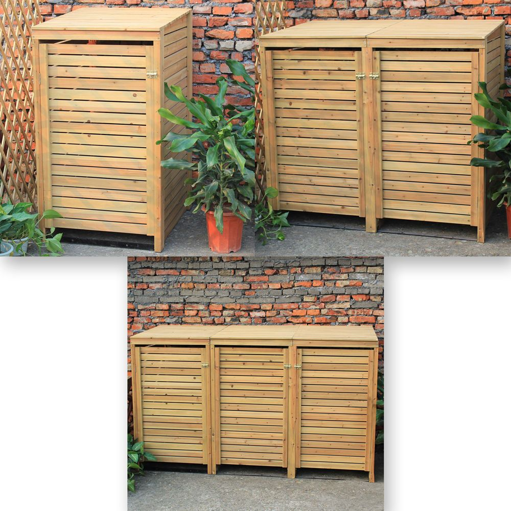Details About Woodside Wooden Outdoor Wheelie Bin Cover Storage Cupboard  Screening Unit