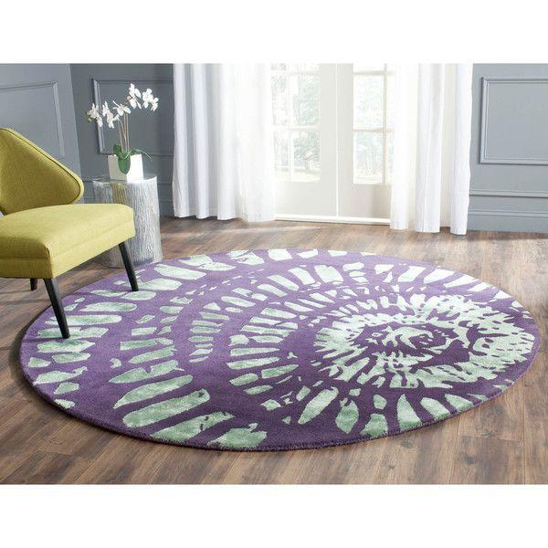 Safavieh Handmade Capri Modern Abstract Lavender/ Sage Wool Rug (7' x 7' Round)