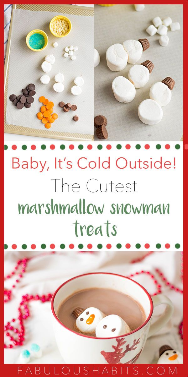 Marshmallow Snowman Treats #cutemarshmallows