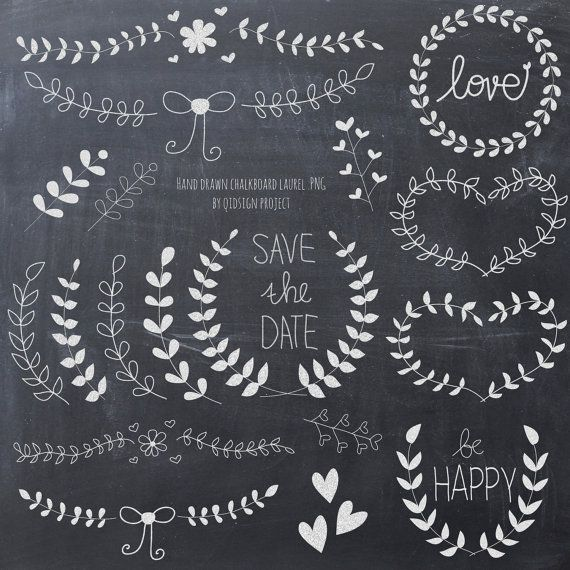 Laurel and wreath chalkboard clipart for scrapbooking ...