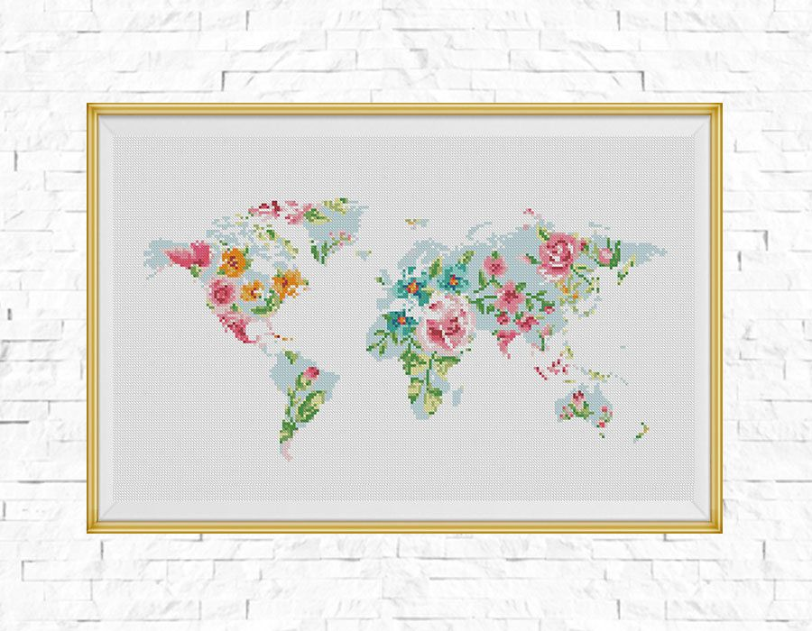 Bogo free world map cross stitch pattern floral world map world map cross stitch pattern floral world map silhouette flowers counted gumiabroncs Images