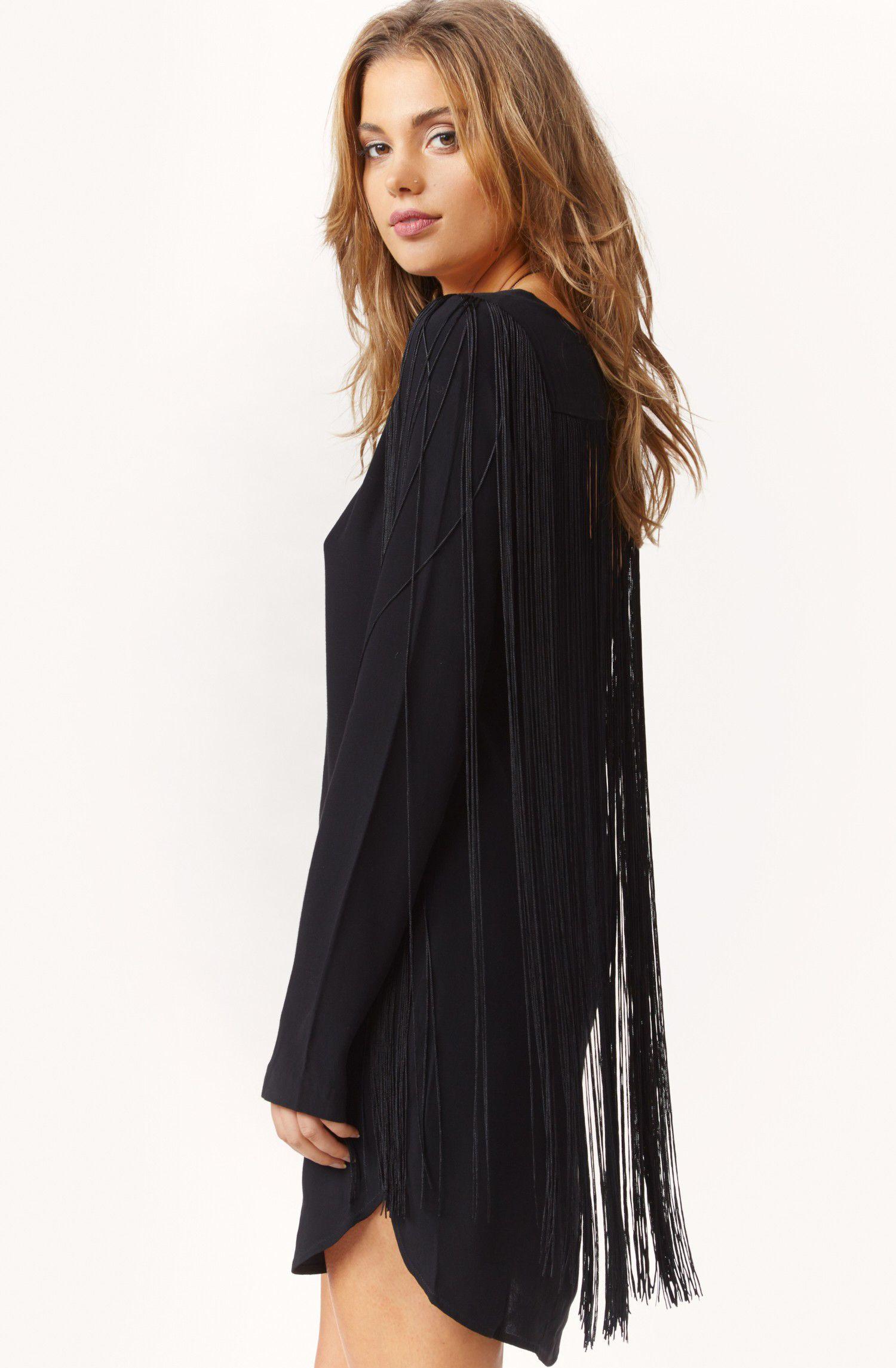 Black Long Sleeve Tassel Dress Sheinside Com Tassel Dress Fashion Boho Festival Fashion Fashion [ 2290 x 1500 Pixel ]