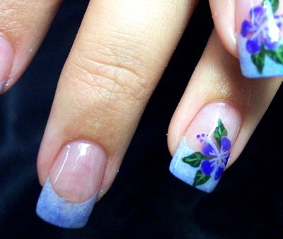 BEAUTIFUL FRENCH MANICURE WITH FLOWERS Ladies Dresses Pinterest