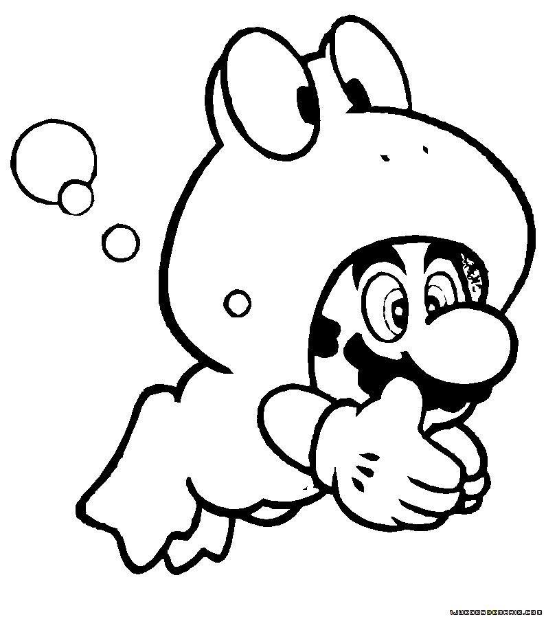 dibujo para colorear mario frog en juegos de mario gratis