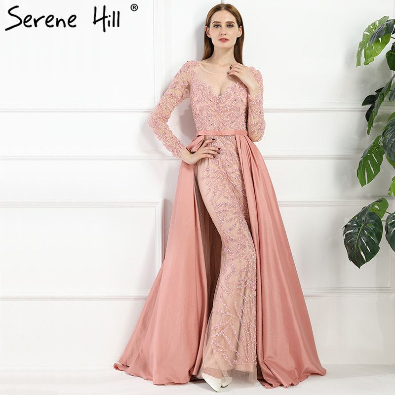 Luxury Pink Mermaid Evening Dresses Attachable Train Long Sleeves