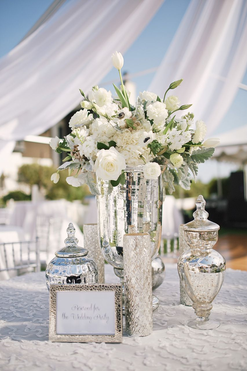 25th wedding decoration ideas  Chic White and Silver Florida Wedding  Weddings Photography and