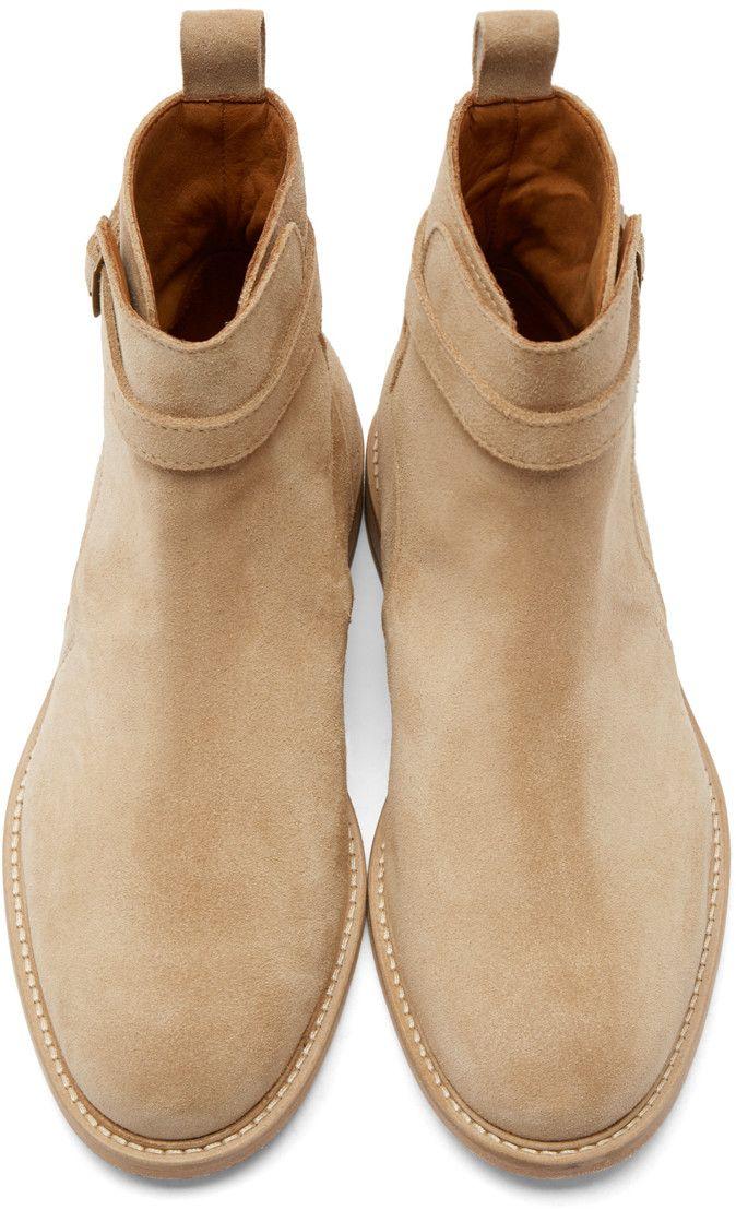 b7c71600a557a AMI Alexandre Mattiussi Beige Suede Buckle Boots | MEN'S FOOTWEAR ...