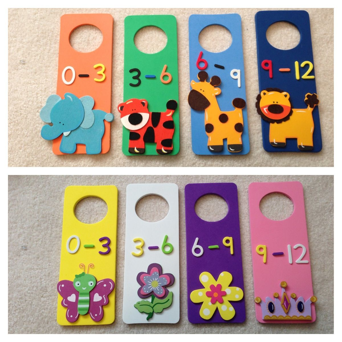 Foam door hangers made to help organize all the baby clothes ...